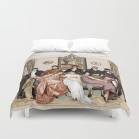 pride and prejudice Duvet Covers featuring Pride and Prejudice and Werewolves by DeadPlants