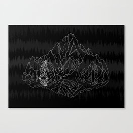 Mountains Lines and Bear Canvas Print