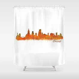 Chicago City Skyline Hq v2 Shower Curtain