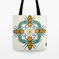 bee Tote Bags featuring bee by Manoou