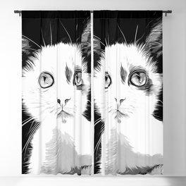 cute cat blue eyes vector art black white Blackout Curtain