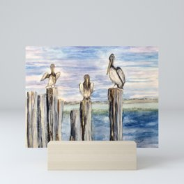 Water Cooler #pelicans #Florida  Mini Art Print