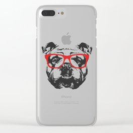 Portrait of English Bulldog with glasses. Clear iPhone Case