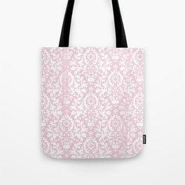 Vintage blush pink white grunge floral damask Tote Bag