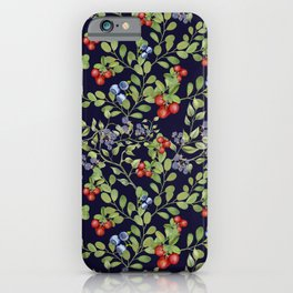 Seamless texture of branches of green grass and wild berries. iPhone Case