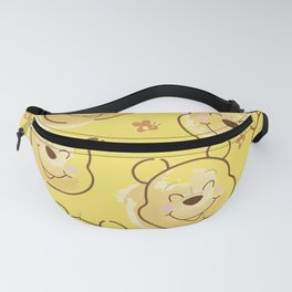 Inspired Pooh Bear surrounded with bees Pattern on Yellow background Fanny Pack