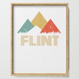 Retro City of Flint Mountain Shirt Serving Tray