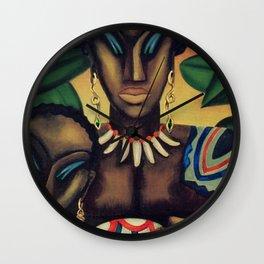 African American Masterpiece 'Africa' by Lois Jones Wall Clock