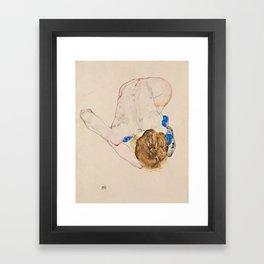 "Egon Schiele ""Nude with Blue Stockings, Bending Forward"" Framed Art Print"