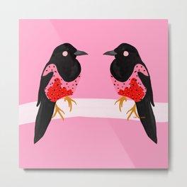 Two for joy Magpie illustration, fashion illustration, fashion prints, colourful prints Metal Print