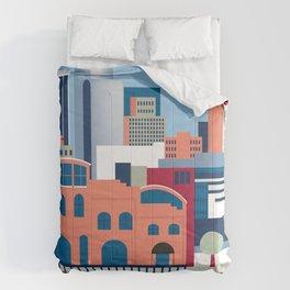 Wilmington, Delaware - Skyline Illustration by Loose Petals Comforters