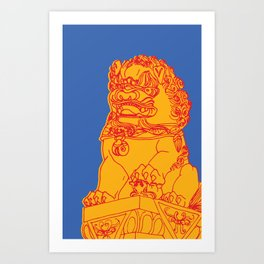 Zhong Hua Men Gate Lion Art Print