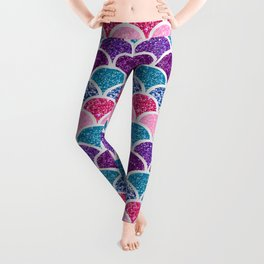cute pink purple turquoise mermaid scales Leggings