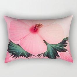 Tropical Pink Hibiscus Flower Print Rectangular Pillow