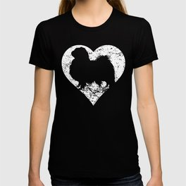 Distressed Japanese Chin Heart Dog Owner Graphic T-shirt