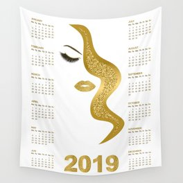 Women with gold glittery makeup 2019 calendar illustration Wall Tapestry