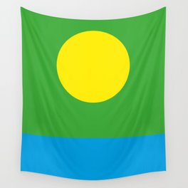 Yellow Sun in a Green Sky looking at a blue sea Wall Tapestry