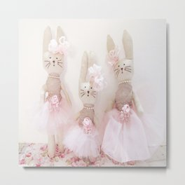 Bunnies Pretty in Pink Metal Print