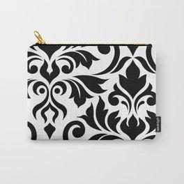 Flourish Damask Art I Black on White Carry-All Pouch