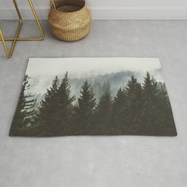 Forest Fog Mountain IV - Wanderlust Nature Photography Rug