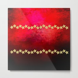 Red and black textured background decorated with gold flowers Metal Print