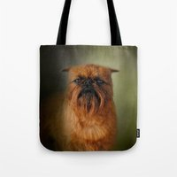 brussels Tote Bags featuring The Brussels Griffon by Jai Johnson