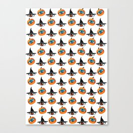 Witch Hats, pumpkins and eyes Canvas Print