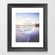 Salt Water Quote, Ocean Photography Framed Art Print