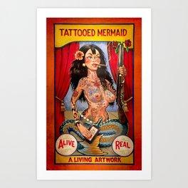 Tattooed Mermaid Art Print