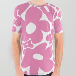 60s 70s Hippy Flowers Pink All Over Graphic Tee