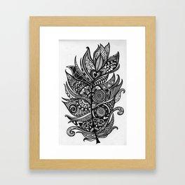 Zen Tangle Feather Framed Art Print