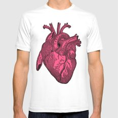 hot pink heart MEDIUM White Mens Fitted Tee