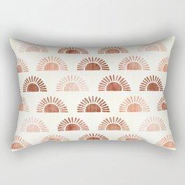 block print suns - terra cotta neutrals Rectangular Pillow