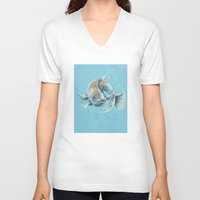 koi fish V-neck T-shirts featuring Koi Fish by Daydreamer