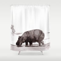 hippo Shower Curtains featuring HIPPO  by Patricia de Cos