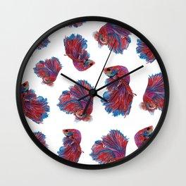 Ocean Theme- Red Blue Betta Fish Wall Clock