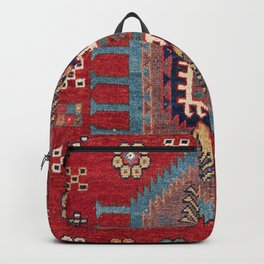 Tribal Honeycomb Palmette II // 19th Century Authentic Colorful Red Flower Accent Pattern Backpack
