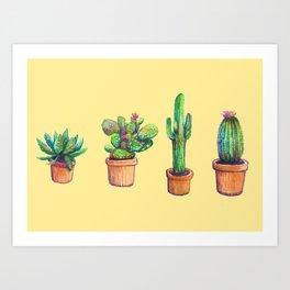 Cactus on Yellow Art Print