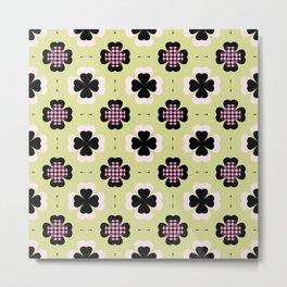 golden four-leaf clover pattern Metal Print