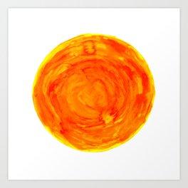 bright warm watercolor sun yellow orange red Art Print
