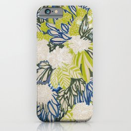White chrysanthemums -ink floral iPhone Case