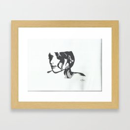 black and white girl Framed Art Print