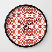 ikat Wall Clocks featuring Ikat by Jay Hooker Designs