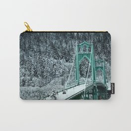 St Johns Bridge Winter Wonderland by Seasons Kaz Sparks Carry-All Pouch