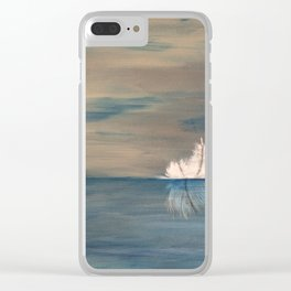 Floating Feather. Abstract Painting by Jodi Tomer. Abstract Feather on Water. Clear iPhone Case