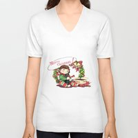 hiccup V-neck T-shirts featuring Merry Christmas from Hiccup and Toothless by Clgtart