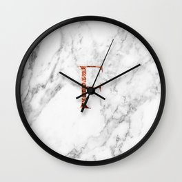 Monogram rose gold marble F Wall Clock