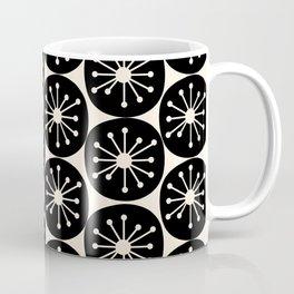 Atomic Dots Midcentury Modern Retro Pattern in Almond Cream and Black Coffee Mug