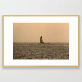 Lighthouse - Whaleback Light, Kittery Point, Maine Framed Art Print