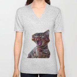 funny cat shocked Unisex V-Neck
